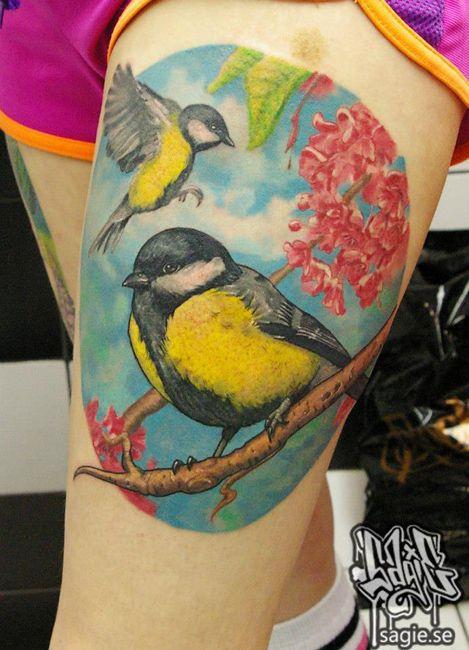 bird tattoo talgoxe greattit tattoo