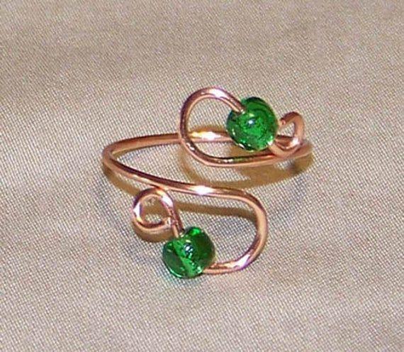Réglable cuivre bagues d'orteil, perlée ou non-perles