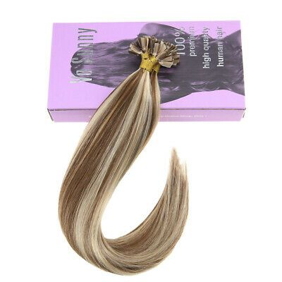Details about VeSunny Keratin U tip Hair Extensions Human Hair Brown Highlights Blonde 8/22# #humanhairextensions