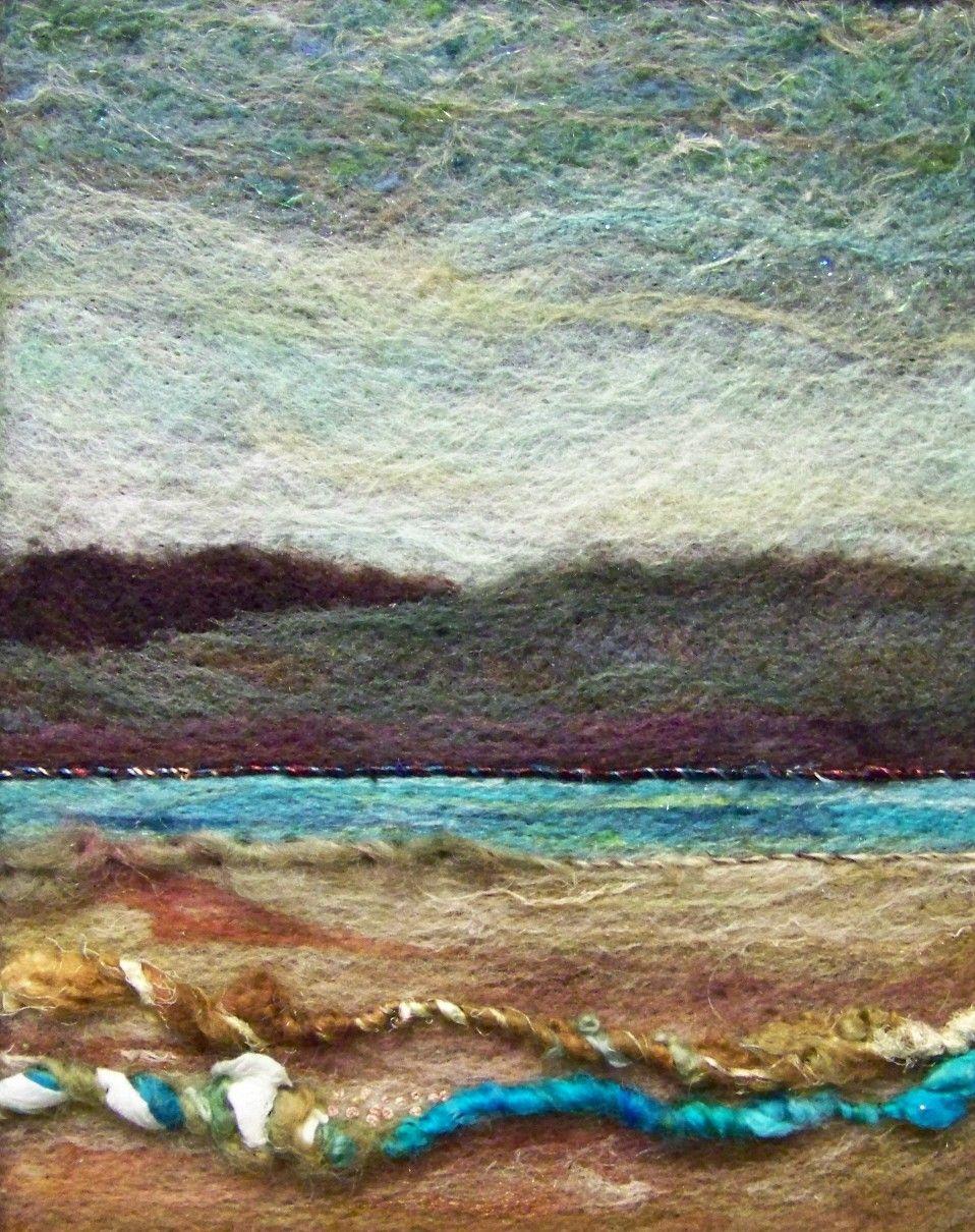 No.245 Warm Water - Needlefelt Art Large. $62.00, via Etsy.