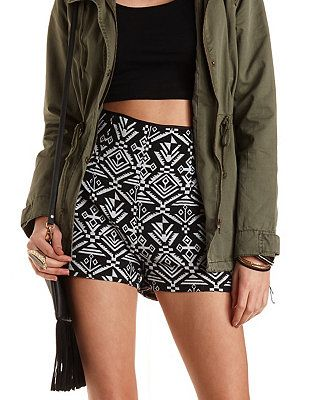 Tribal Print High-Waisted Shorts: Charlotte Russe