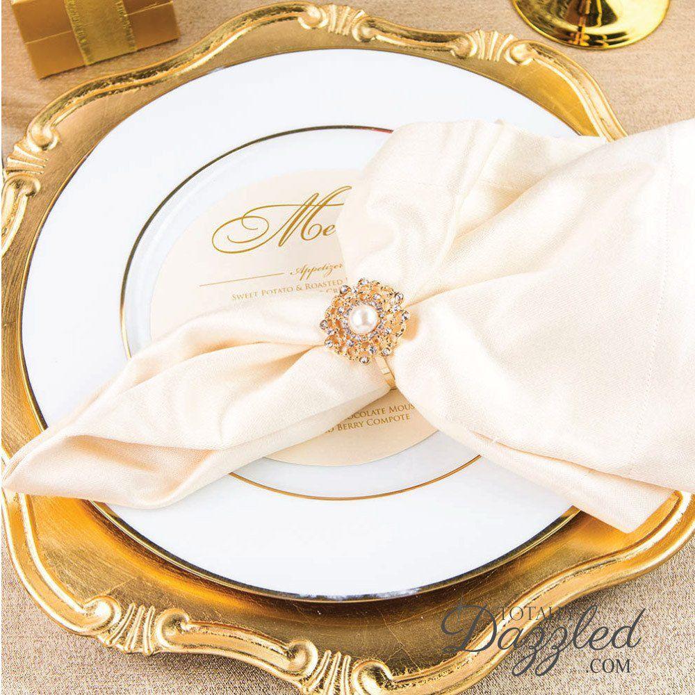 Giveaway Win Rhinestone Napkin Rings bulk flower gold