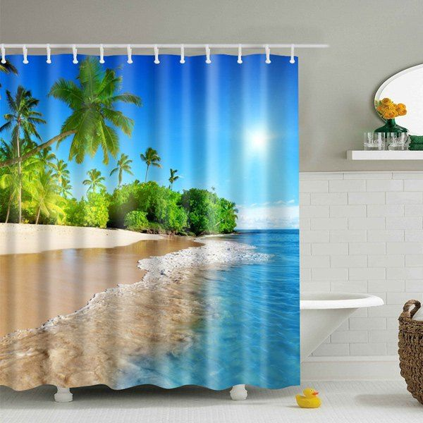 3D Beach Polyester Waterproof Bath Shower Curtain - Blue - M | Beach ...