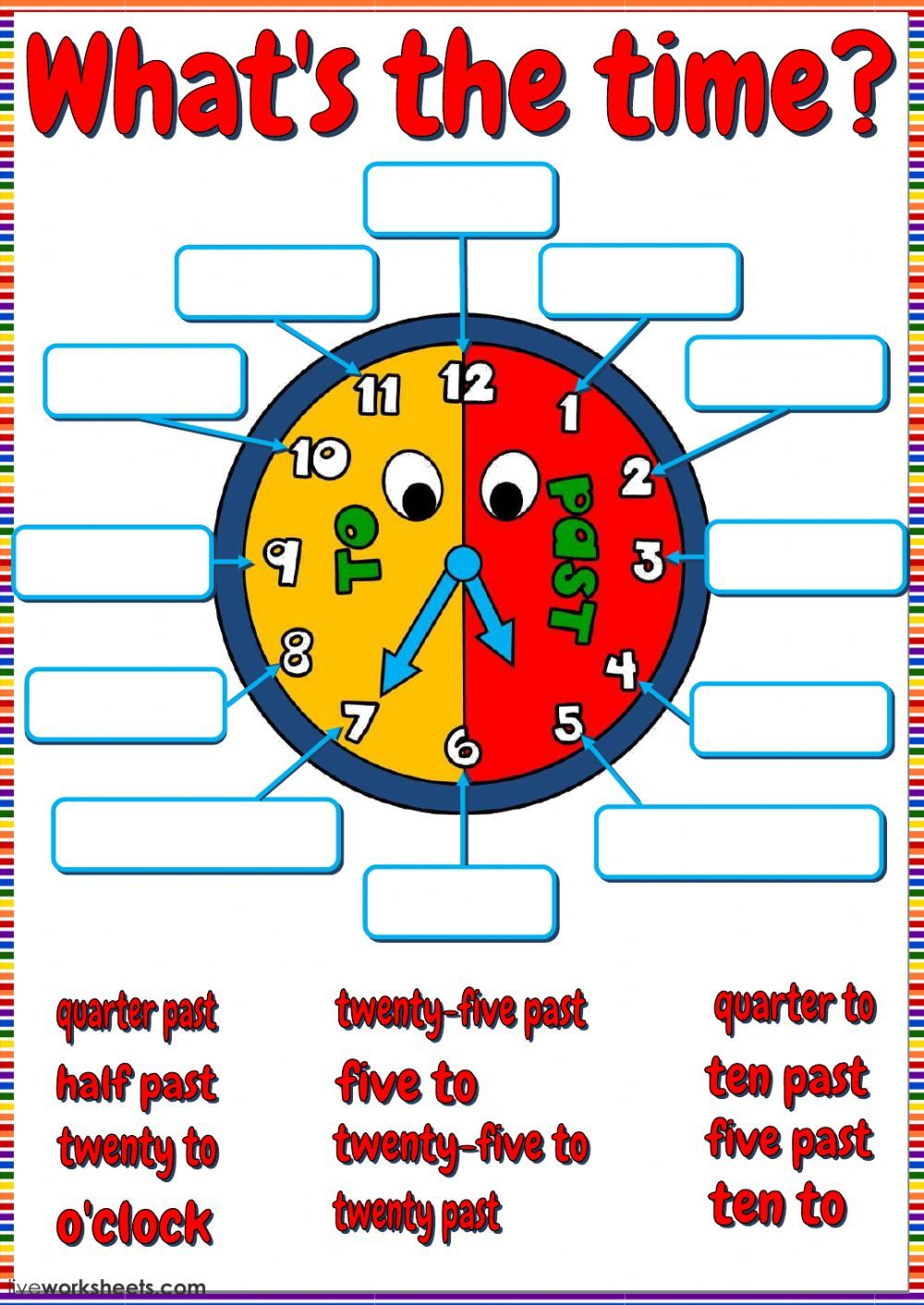 Telling the time interactive and downloadable worksheet