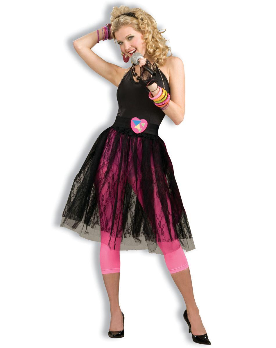 80's Pop Star Black Plus Size Skirt Spirit Halloween