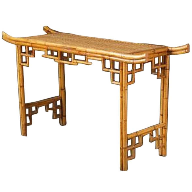 Bamboo Rattan Chairs vintage faux bamboo rattan console | faux bamboo, rattan and consoles