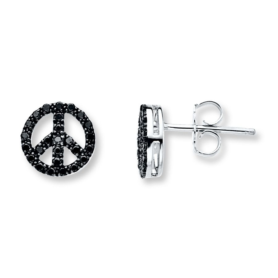 Peace Sign Earrings 1 4 Ct Tw Black Diamonds Sterling Silver 181360001 Jared