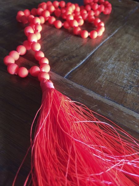resin + beaded + tassel = neon necklace