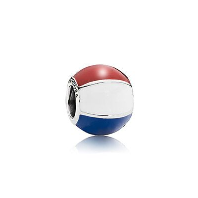 Silver beach ball charm with red, white and blue enamel for $40 (For local prices, please contact your PANDORA retailer) #pandora #charm #silver #travel