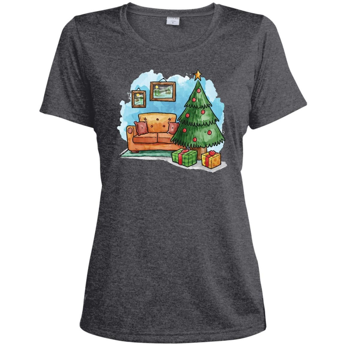 Merry Christmas and Happy New Year36-01 LST360 Sport-Tek Ladies' Heather Dri-Fit Moisture-Wicking T-Shirt