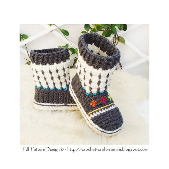 Fair Isle Sock-Boots for Kids Crochet Pattern by PdfPatternDesign ...