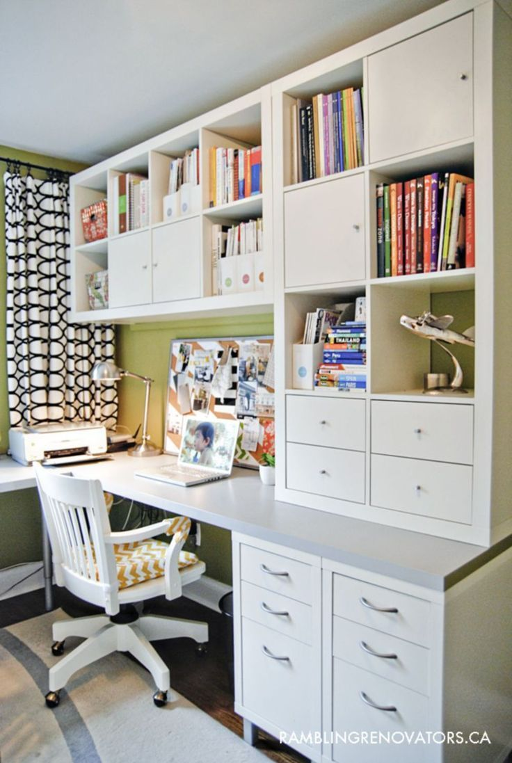 Home-office-innenarchitektur ideen cool and space saving home office idea out of ikea furniture