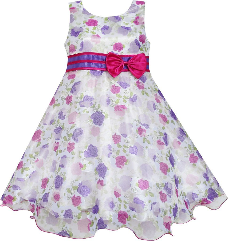 Girls Dress Bow Tie Bridal Lace Rose Flower Detailing Purple Size 3-8 Years