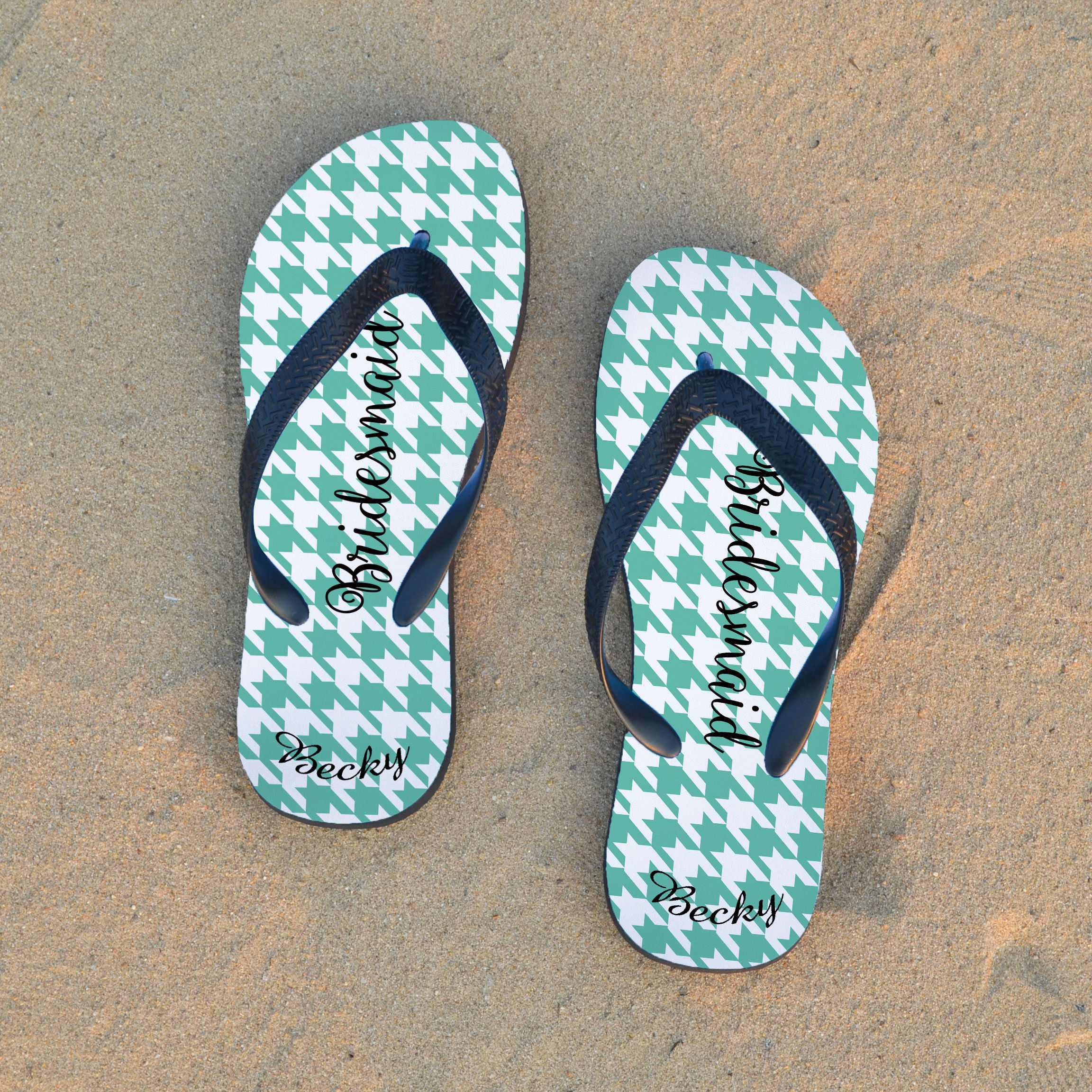 Personalized Flip Flops For Wedding Guests Sandals By Janecustifts On Etsy