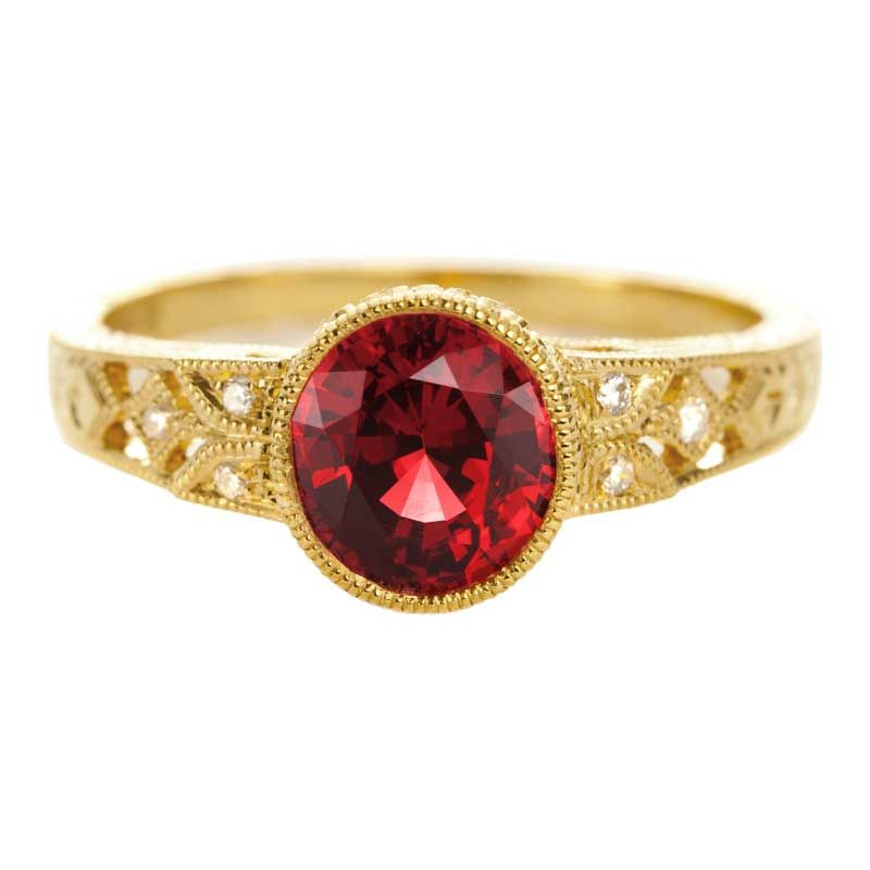 Beverley K yellow gold engagement ring with red spinel.  Custom design collection at Greenwich Jewelers.