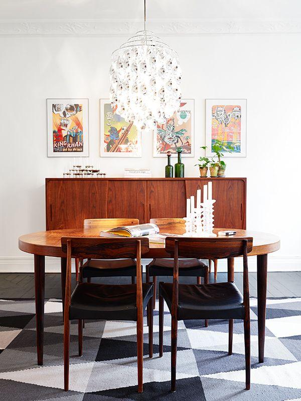 Simple Scandinavian Dining Room Ideas 10: Scandinavian Style. Geometric Shaped Rug, Simple Wood
