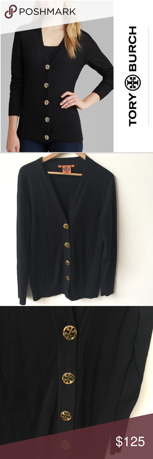 Tory Burch | Simone Merino black cardigan | large | Arm pits and ...