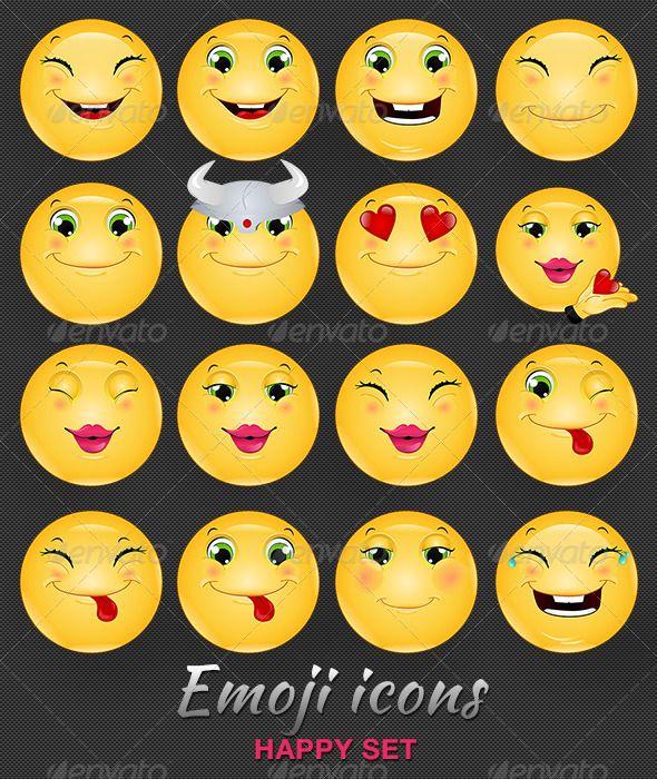 Emoji Emoticon Happy Icons Set Icon set Emoji Emoticon