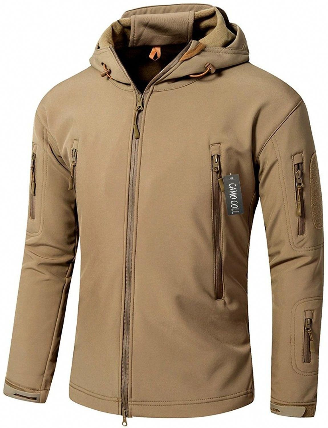 Men's Outdoor Soft Shell Hooded Tactical Jacket Earth