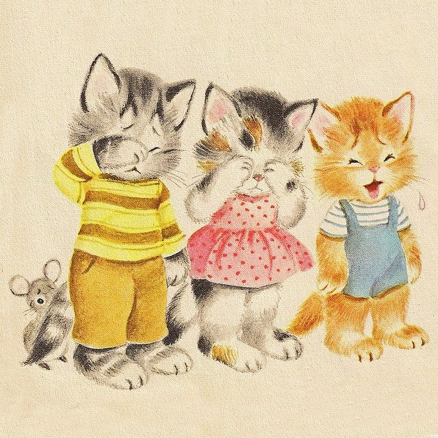 Naughty Kittens Have Lost Their Mittens Cat Art Vintage Illustration Little Kittens