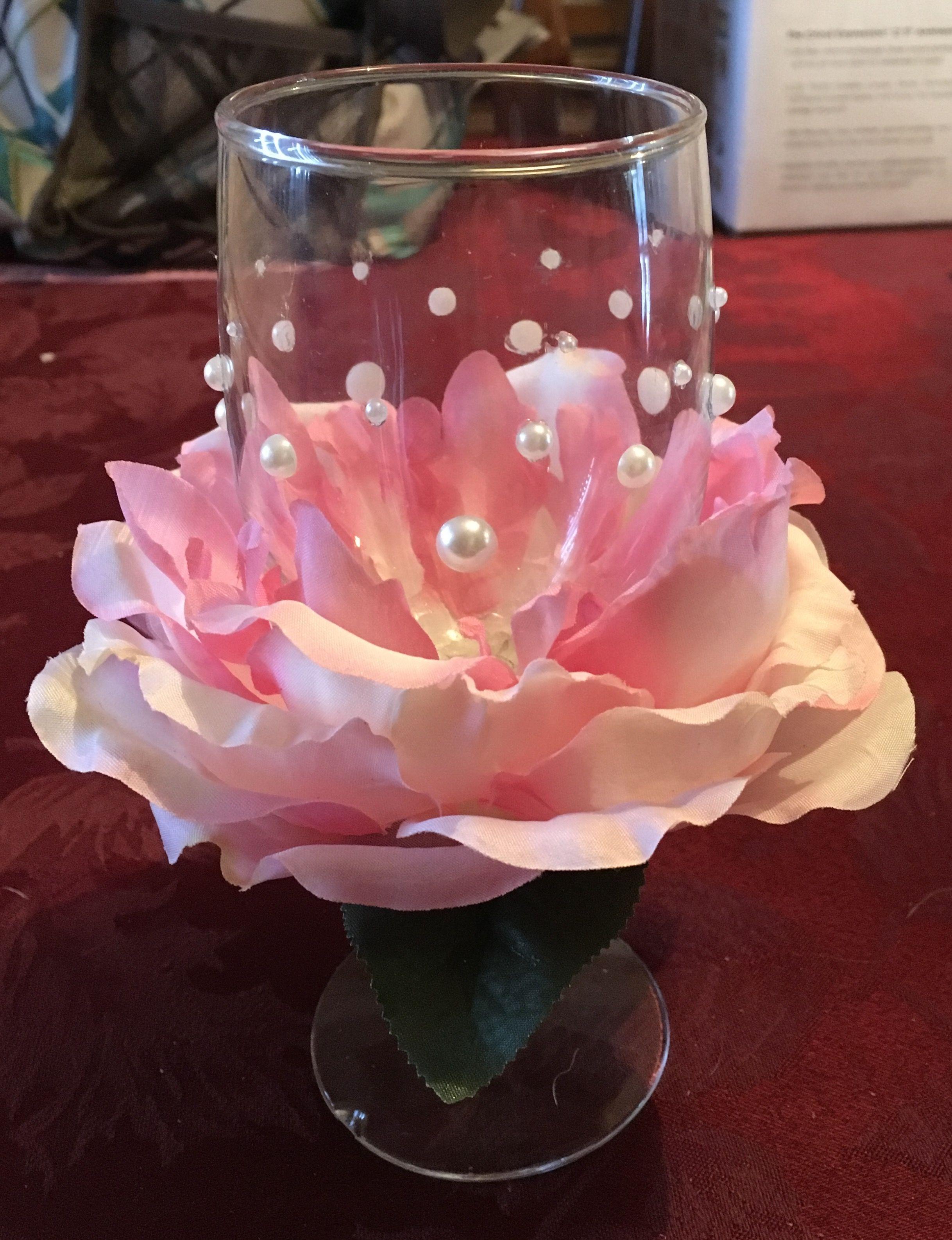 Rose Petal Wine Glass Wine Glass Decor Decorated Wine Glasses Valentine Decorations
