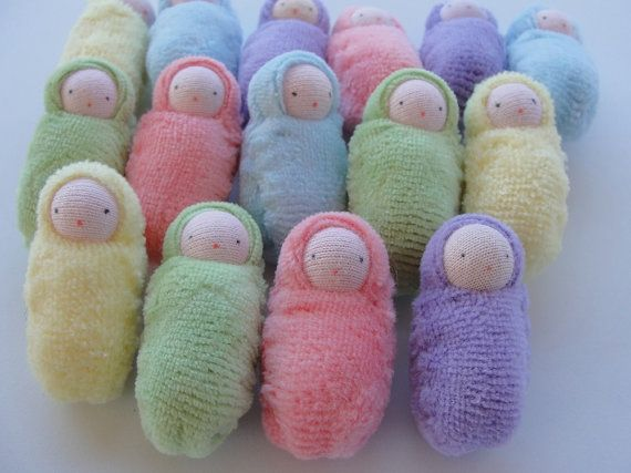 15+ Little dolls // waldorf party favor // small bunting baby // Easter // peanut baby/ // pastel assortment // baby shower gift // PSM1