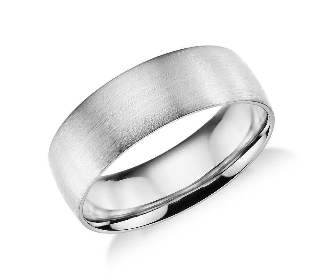 Matte Classic Wedding Ring In 14k White Gold 7mm Blue Nile Classic Wedding Rings Titanium Wedding Rings Pretty Wedding Rings