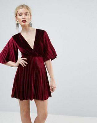 c0e24d1e911 ASOS Pleated Velvet Kimono Mini Dress