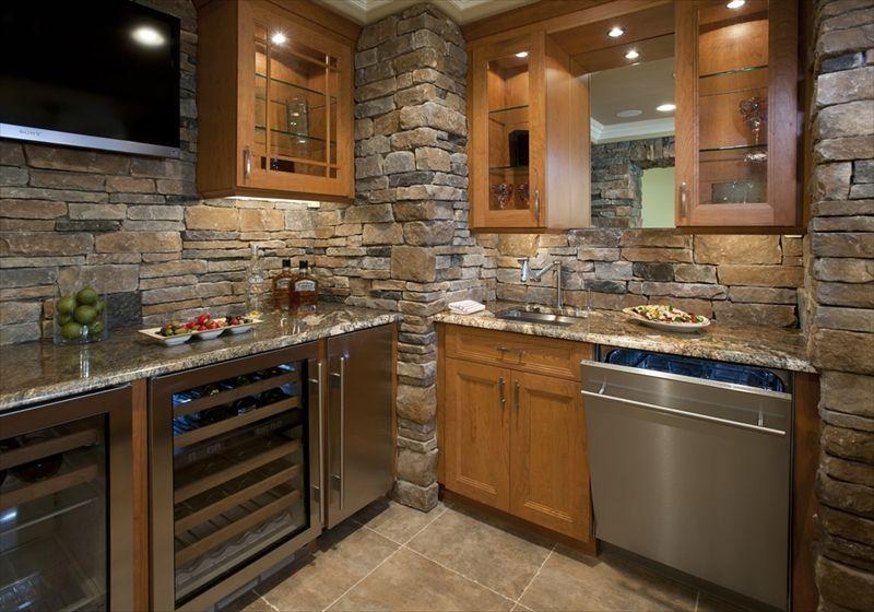 A full indoor kitchen in Cast Veneer Stone, Ledgestone | Indoor ...