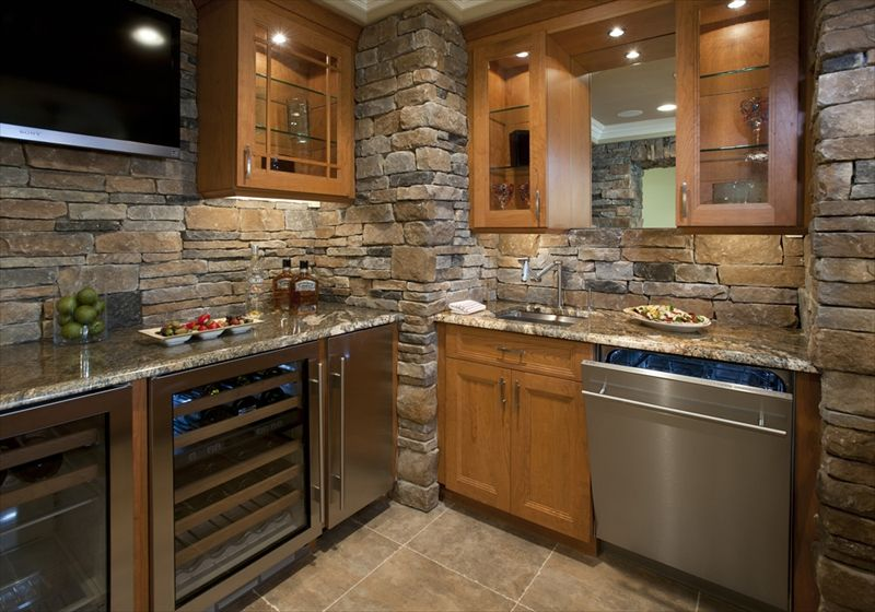 A Full Indoor Kitchen In Cast Veneer Stone Ledgestone