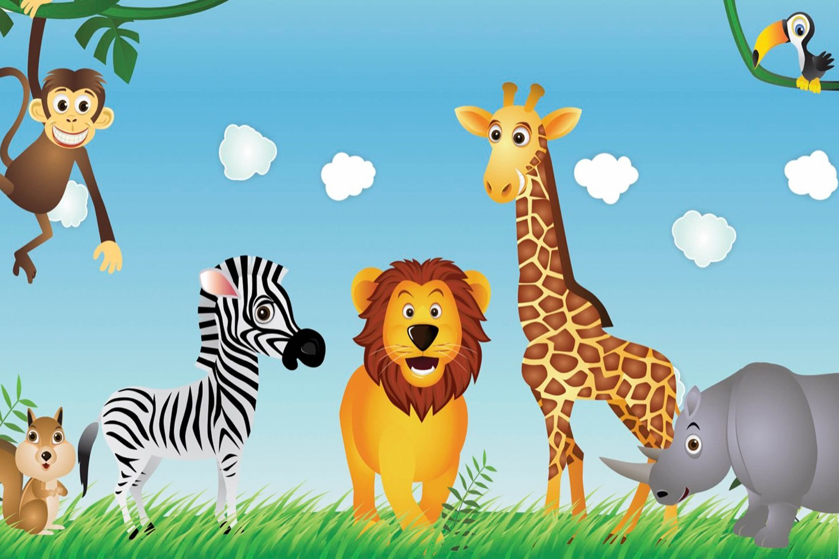 Cute Animals Kids Wallpaper Mural Custom Made To Suit Your Wall Size By The Uk S No 1 For Wall Murals Kids Wallpaper Animal Pictures For Kids Animal Wallpaper
