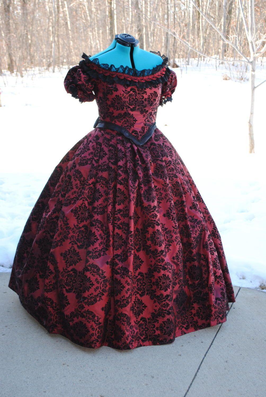 CUSTOM black Victorian Civil War Ball formal Steampunk 1860s Gown ...