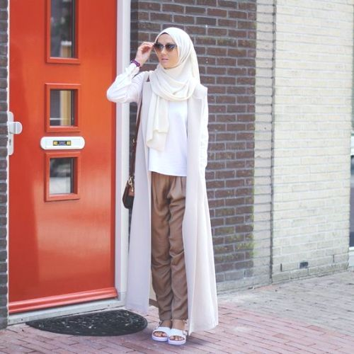 long white cardigan hijab outfit- How to wear long cardigan with ...