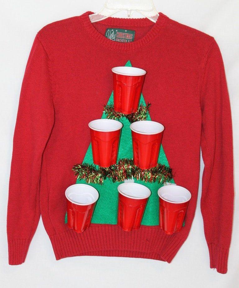 """Hässliche klebrige """"Beer Pong"""" freche Weihnachtspullover Größe S Damen   – Ugly Tacky Christmas Sweaters"""