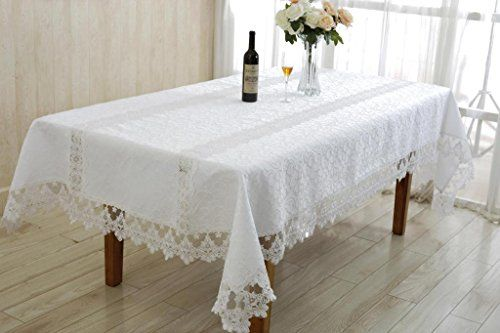 Glory Embroidered Vintage Lace Design 70 X 120 Oblong Rectangle Tablecloth  Color White * Read More