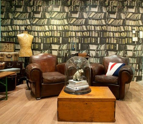 Library Wallpaper U0026 Vintage Furniture From Quintessential DuckeggBlue # Antique #vintage #industrial
