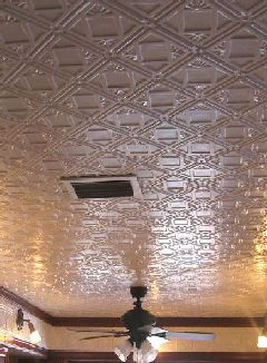 Faux Pressed Tin Ceiling A Very Good Alternative To Pricey Real The Therrmed Tiles 2 X4 Attach With Grab And Paint