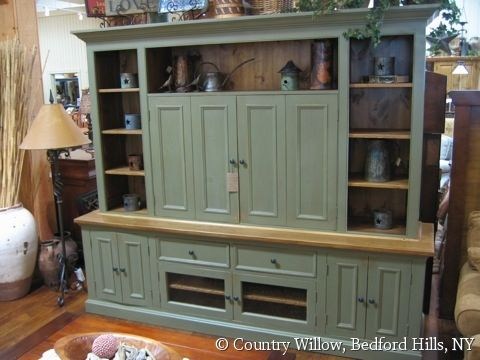 Country Willow Furniture Tv Stand Decor Wood Entertainment