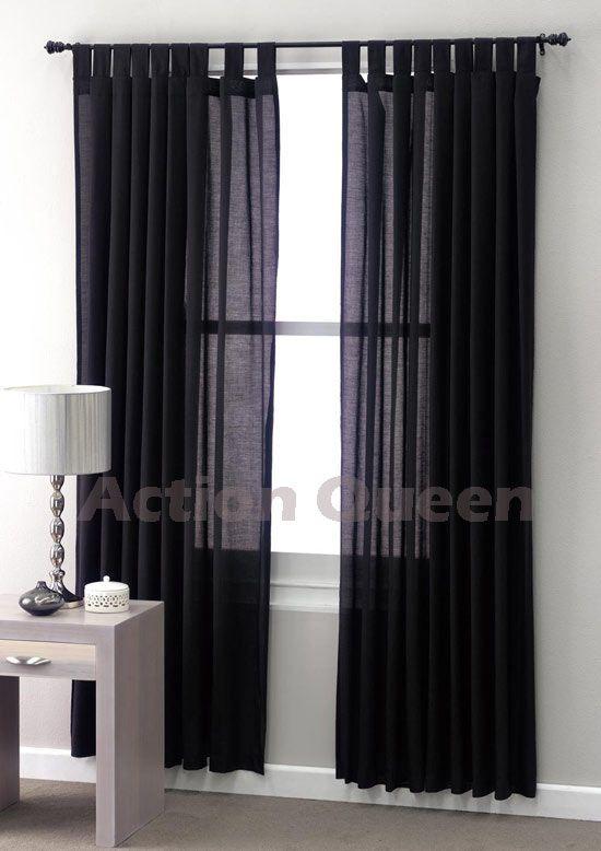 Good CLUB LINEN Jet Black SHEER Curtains 180 X 2 X 213cm $33