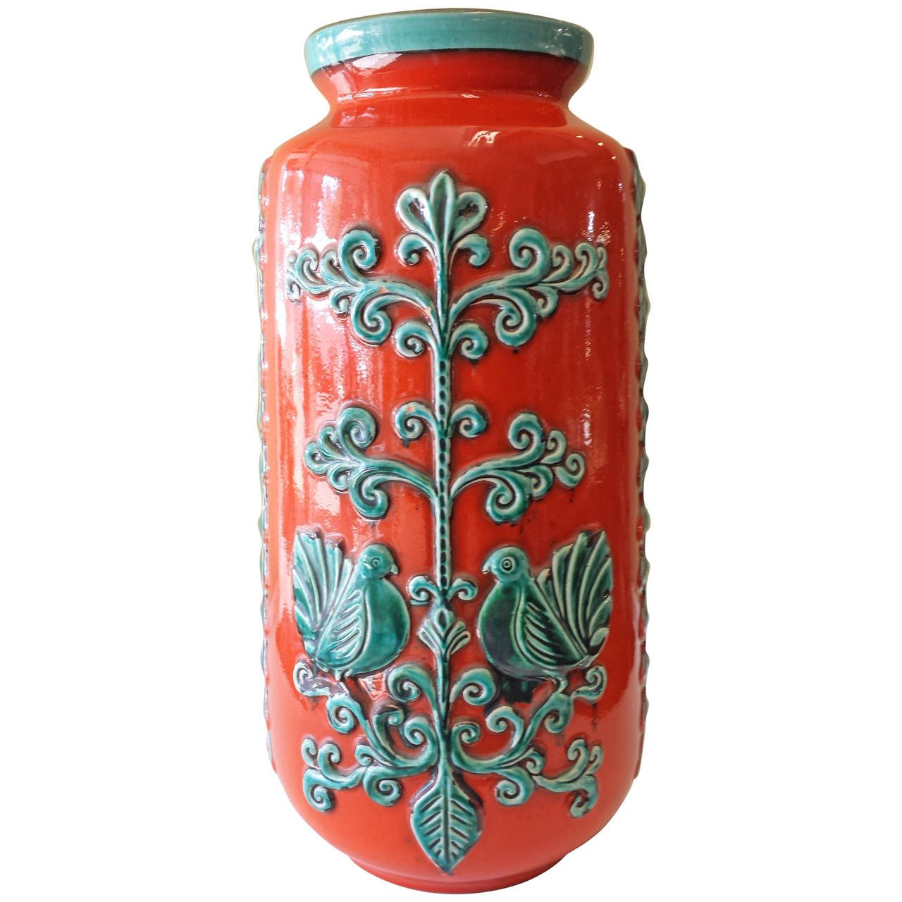 Large W. Germany Burnt Orange and Turquoise Vase with Love Birds 1 – $379.57CAD