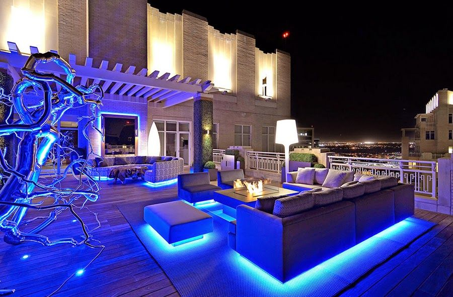Rooftop-Garden-Design-with-Fireplace-and-Modern-Lighting-under ...