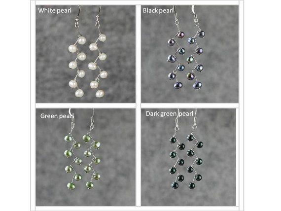 Negro perla zigzag pendientes regalos damas de por AnniDesignsllc