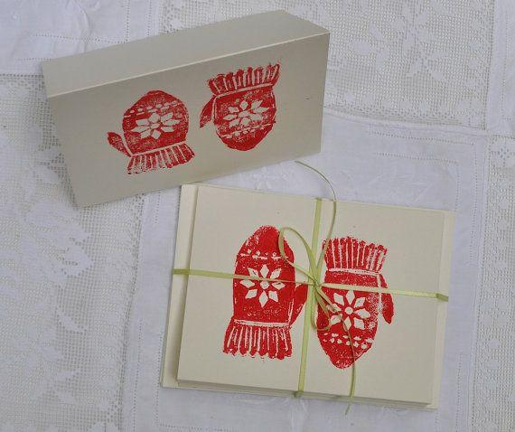 red mittens block print christmas cards print block designs
