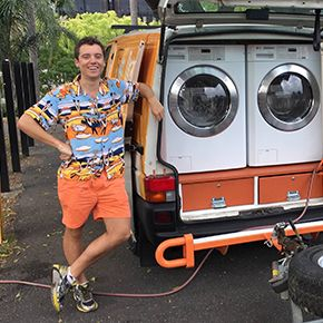Two Australian Friends Turned Their Van Into A Mobile Laundry For