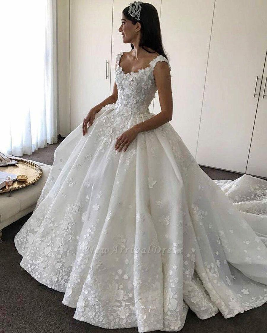 Gorgeous Lace Straps Ball Gown Wedding Dress Flowers Bridal Gown Newarrivaldress Com Bridal Dresses Lace Wedding Dress Necklines Bridal Dresses Uk