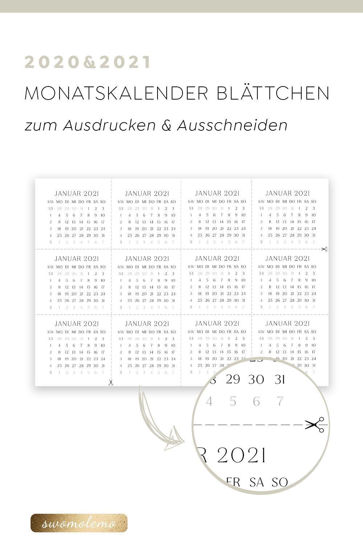 Monatskalender 2021 mit KW   Monatsschnipsel 24er Set 20 ...
