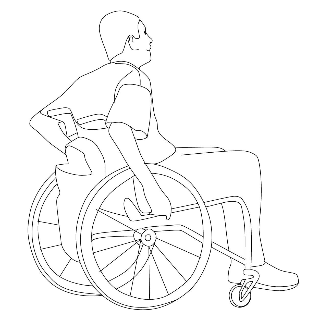 Man In Wheelchair Architecture People Drawing People Silhouette Architecture