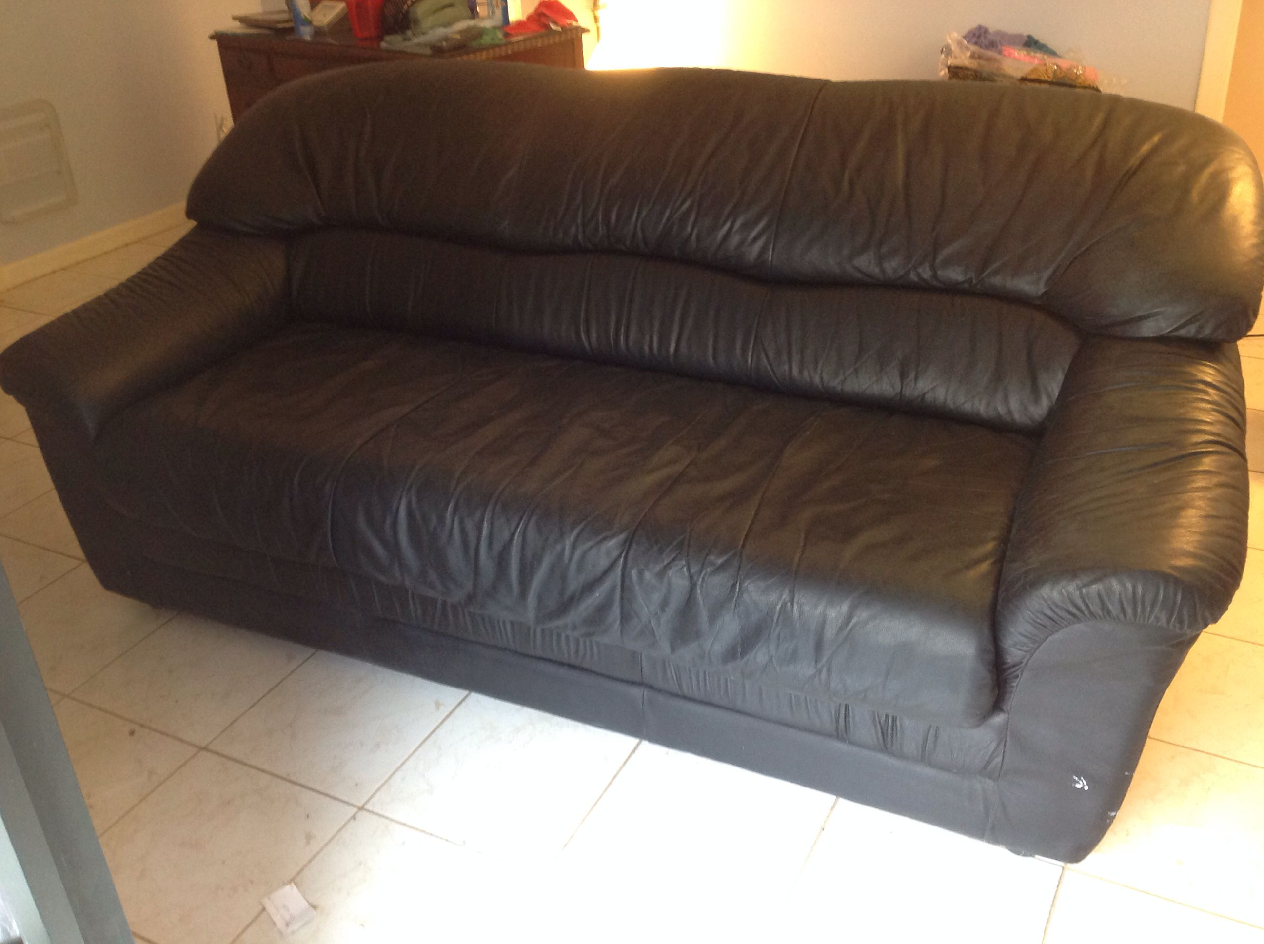 Black natuzzi all leather sofa bed for sale in kings point