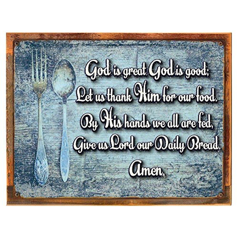 Wood-Framed God is Great Blessing Metal Sign, Inspirational ...