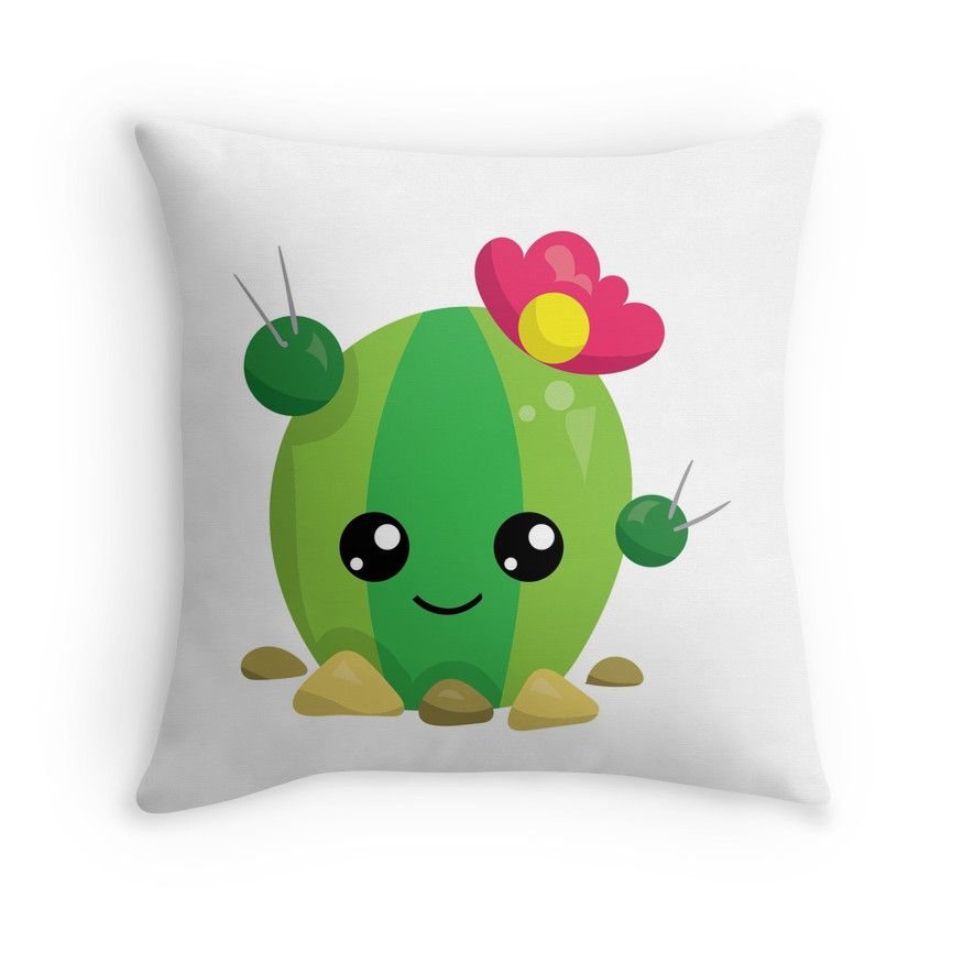 Cute Kawaii Cactus Emoji Throw Pillow #cactus #pillow #redbubble Pretty Pillows Pinterest ...